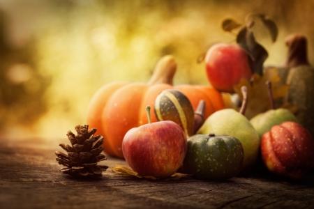 accion de gracias: Concepto de naturaleza de otoño. Caída de fruta en la madera