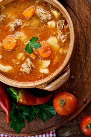 Delicious veal stew soup with meat and vegetables on wood. Imagens - 22676881