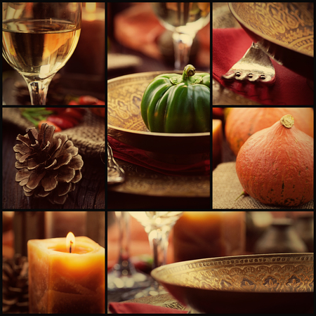 place: Restaurant series. Collage of autumn place setting.  Fall season fruit, pumpkins, plates, wine and candles.Luxury dining