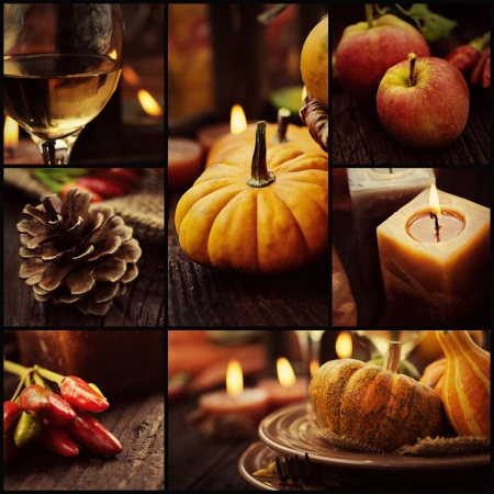 thanksgiving dinner: Restaurant series. Collage of autumn place setting.   Thanksgiving dinner. Fall season fruit, pumpkins, plates, wine and candles. Thanksgiving dinner