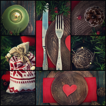 Restaurant series. Collage of rustic Christmas dinner.  Holiday luxury table setting with heart, red ornaments and holly photo