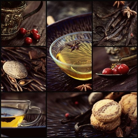 spiced: Restaurant series. Collage of winter spiced tea. Cookies, spices, fruit and tea, vanilla pods Stock Photo