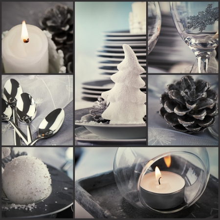 Restaurant series. Collage of fancy Christmas dinner.  Holiday luxury table setting. Fancy dining photo