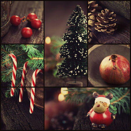 Christmas series. Collage of rustic Xmas ornaments and decoration. Christmas tree, reindeer, lolipop candy.  photo