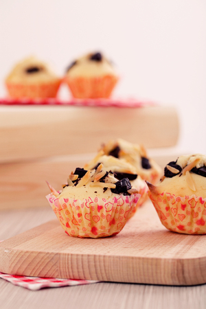 Chocolate chips and almond muffins. Breakfast vanilla  cupcakes photo