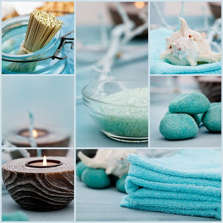 baÑo: Series Spa collage. Spa collage de cinco imágenes. Agua floral, sales de baño, velas y una toalla. Foto de archivo