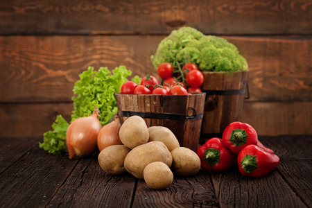 Fresh organic vegetables. Food background. Healthy food photo