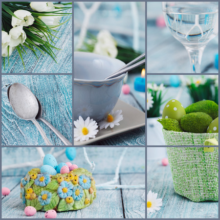 easter nest: Easter background  Easter holiday collage  Easter table setting with colorful eggs, tulips and decoration