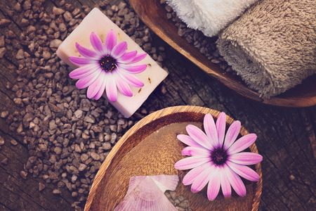 dayspa: Spa and wellness setting with natural soap, candles and towel  Violet dayspa nature set dayspa nature set