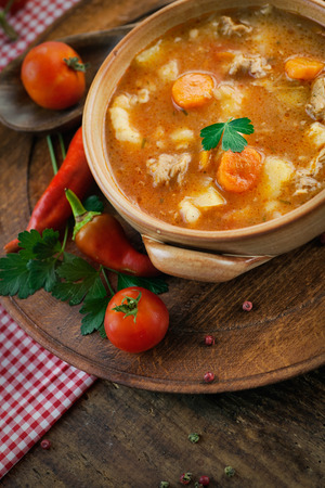 Delicious veal stew soup with meat and vegetables on wood. photo