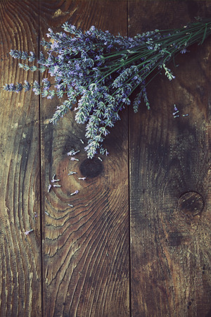 Fresh lavender over wooden . Summer floral with lavender flowers and wood. Stock Photo