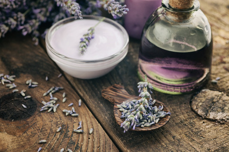 dayspa: Lavender spa setting. Wellness theme with lavender products.