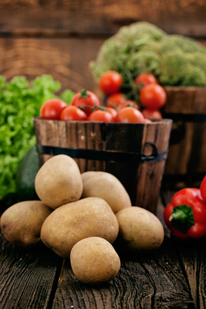 Fresh organic vegetables  Food background  Healthy food  Potatoes photo