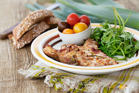Healthy food. Grilled chicken with salad photo