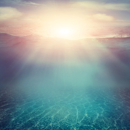 with ocean: Summer background. Underwater sea view. Ocean water surface.
