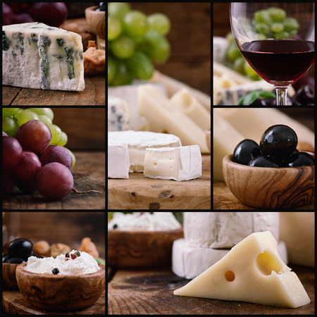 Restaurant series. Cheese and wine collage. Variety of gourmet cheese, red wine and fruit Stock Photo