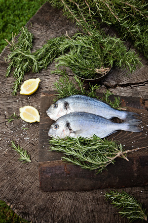 Healthy eating. Bream fish preparation. Seafood with rosemary, salt and fish photo