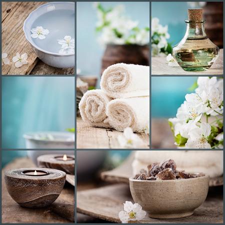 스파 콜라주 시리즈. 스파 콜라주 다섯 이미지의했다. 꽃 물, 체리 꽃, 목욕 소금, 촛불, 수건입니다.