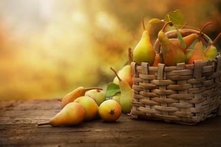 Herfst natuur concept. Vallen peren op hout. Thanksgiving diner Stockfoto