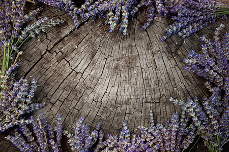 herbs of provence: Lavender background. Lavender flower bunch on wood. Floral background Stock Photo
