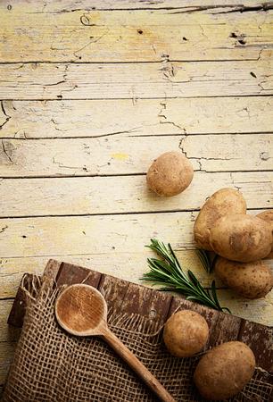 potato basket: Fresh organic vegetables. Food background. Healthy food from garden