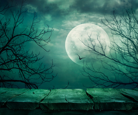 Halloween background. Spooky forest with full moon and wooden table Stok Fotoğraf