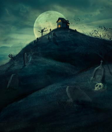 짜증 묘지, 벌거 벗은 나무, 무덤과 유령의 집 할로윈 디자인 배경입니다. 과 Copyspace입니다. 할로윈 그림
