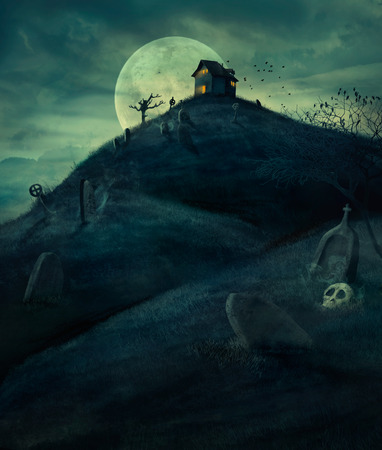 Halloween design background with spooky graveyard, naked trees, graves and haunted house. and Copyspace. Halloween illustration Reklamní fotografie