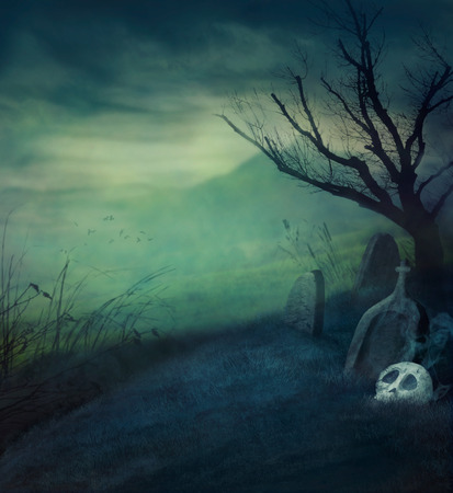 Halloween design background with spooky graveyard, naked tree and graves.  Halloween illustration with copyspace