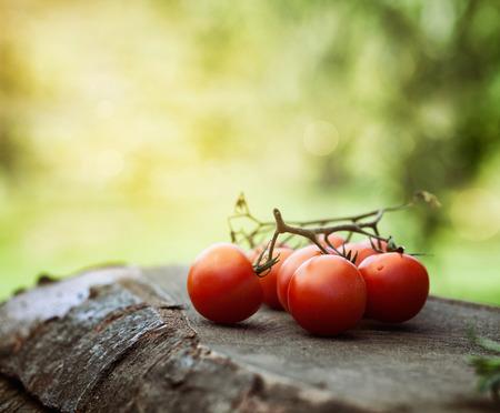 organic farming: Ripe tomatoes on wood. Healthy eating. Organic food Stock Photo