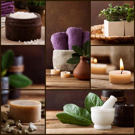 Spa Collage-Serie. Beauty-Produkte. Floral Wasser, l Badesalz, Kerzen und Handtücher.