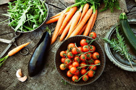 rustic food: Fresh organic vegetables. Food background. Healthy food from garden