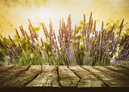 Holztisch mit Lavendel. Holzplatte mit Blumen