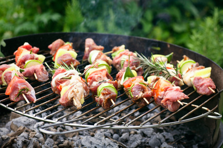 Summer barbecue. Meat BBQ with herbs and vegetables. Outdoor grill food