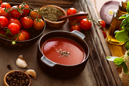 hot soup: Tomato soup. Homemade tomato soup with tomatoes, herbs and spices. Comfort food.