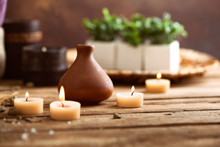 natural setting: Spa and wellness setting with candles