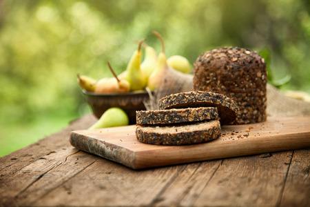 natural food: Fresh healthy bread on wood Stock Photo