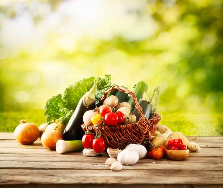 Vegetables on wood Stockfoto
