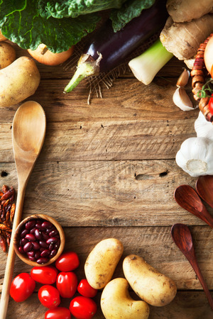 Vegetables on wood Stock Photo - 40888372