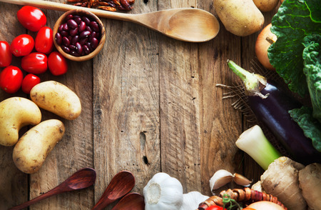 Vegetables on wood Stock Photo