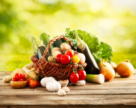 vegetable salad: Vegetables on wood Stock Photo