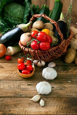 Vegetables on wood Archivio Fotografico
