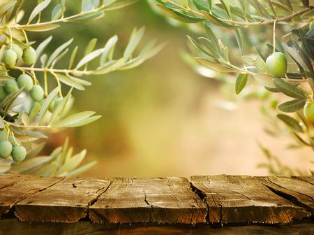 sol radiante: Mesa de madera con olivos Foto de archivo