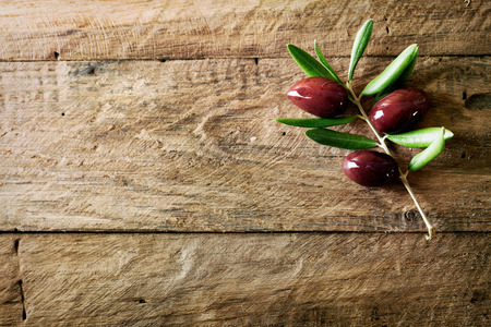 Olives on olive branch. Wooden table with olives