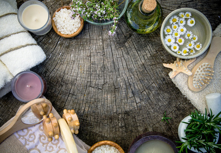 beauty products: Spa and wellness. Dayspa nature setting with copy space. Spa beauty products.