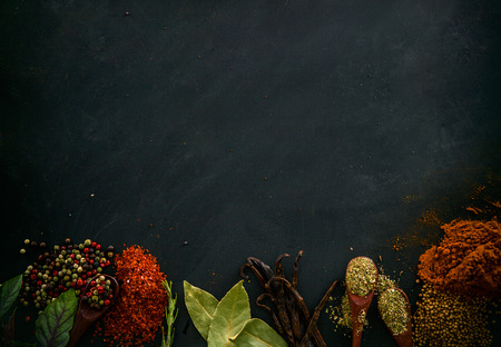 Spices and herbs. Variety of spices and mediterranean herbs. Food background Foto de archivo