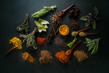 Spices and herbs. Variety of spices and mediterranean herbs. Food background 스톡 콘텐츠