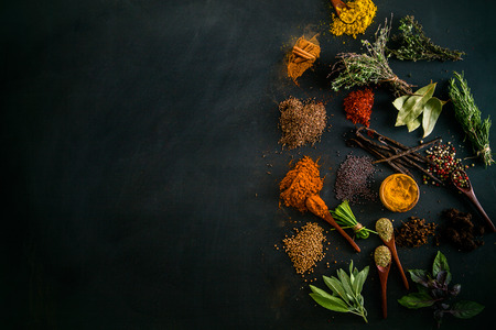 Spices and herbs. Variety of spices and mediterranean herbs. Food background Archivio Fotografico