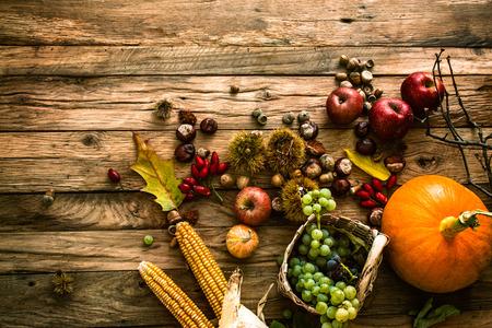 秋のフルーツの背景。秋の感謝祭季節のフルーツ。自然の背景 写真素材