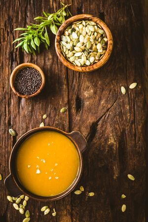 pumpkin soup: Pumpkin soup. Autumn dinner with healthy vegetable soup Stock Photo